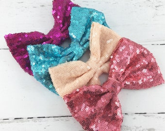 """4.5"""" Set of 4, Sequin Bow Applique, Large Sequin Bows, Hair Bow, DIY Sequin Bow, Hot Pink, Peach Cream, Turquoise, Coral Pink Sequin Bows"""