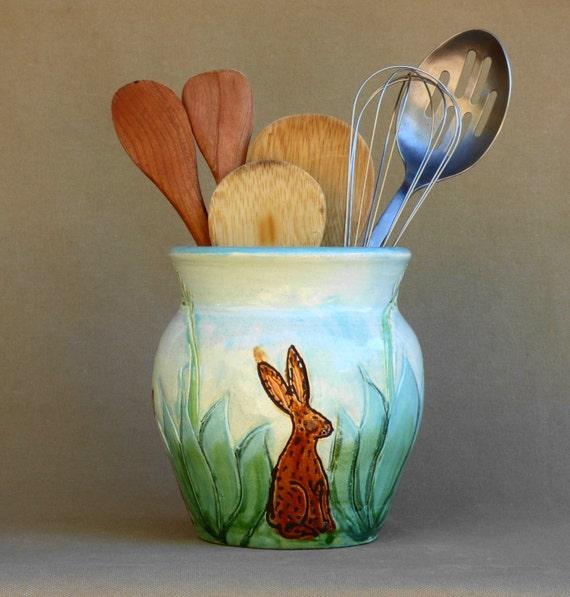 Utensil Potteryvase Southwest Kitchen Decor By