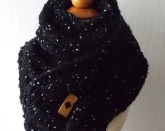 Chunky Scarf Handknit Big Cowl Extra Thick Cabled Soft  in Black  Tweed Winter Women Accessory