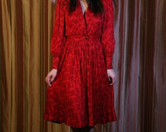 SALE 1980s Vintage Dress by Adele Simpson // 80s Does 40s Silk Shirt Waist Dress