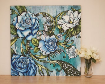 "Large 24x24"" Abstract Floral Oil Painting, Modern Contemporary Art Original ,  2'x2' Blue and Seafoam Green , ""Bathe In Your Memories"""