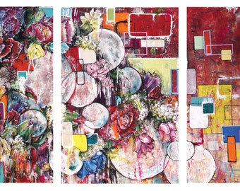 Large Contemporary Art Triptych Canvas Print-  24x48 Warm Colors Red Maroon Orange Abstract Flowers Geometric Above Couch Design Decor