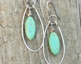 Turquoise Jewelry, Silver Hoop Earrings,  Silver Jewelry, Turquoise Earrings