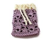 Crochet Soap Saver with a Drawstring - Soap Sack - Soap Bag - Soap Cozy - Colors Plum with Cream Border