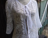 cotton lace springtime top, hippy cardi, boho, surfer, alternative, M / L