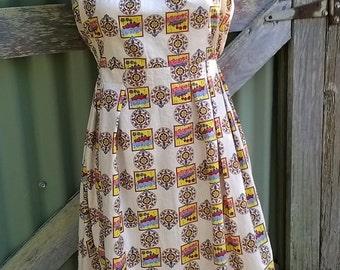 funky sundress, vintage cotton, 50s / 80s,  large