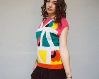 STOREWIDE CLEAROUT SALE 90s abstract chunky knit pullover pop art geo color block club kid 1990s super kawaii new wave dolman short sleeve s