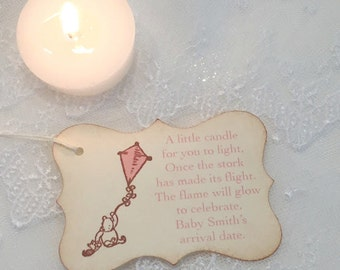 Candle Favor Tags Baby Shower Winnie the Pooh Pink Girl Kite Once the Stork has made its Flight
