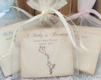 Winnie the Pooh Baby Shower Favors Tea Bag Favors Baby is Brewing Set of 10