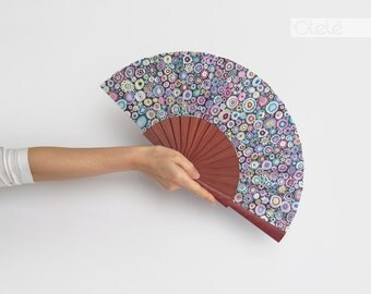 Violet Wood hand fan - Purple Rain -  Hot flash menopause remedy - Gift for mom