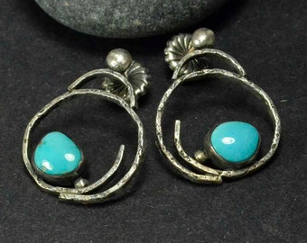 Turquoise Earrings, Statement Earrings, Sterling Earrings, Metalsmith Jewelry, OOAK