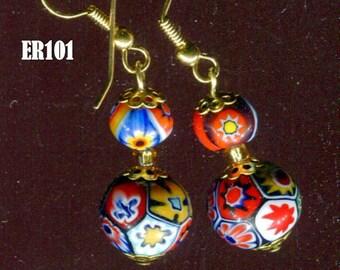 MORETTI MILLEFIORI  Murano Venetian Earrings ER101