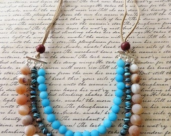 Triple Strand Leather Necklace With Blue Agate Calsilica And Orange Druzy Agate Beads