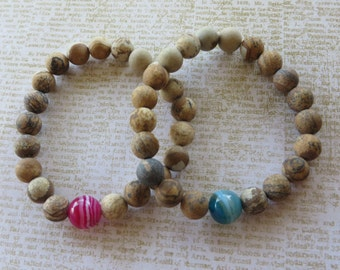 His/Hers Matching Picture Jasper And Agate Beaded Stretch Bracelets