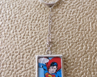 Metal Superman Keychain With Images On Both Sides