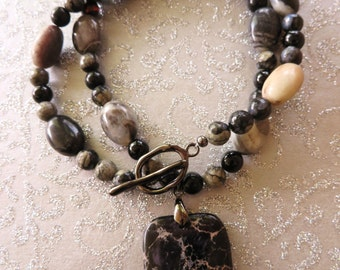 Black Agate and Amazonite Beaded Necklace with Black Jasper and Pyrite Pendant