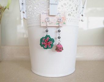 Irish Crochet Lace Jewelry (Joy II-b) Fiber Jewelry, Clip Earrings, Crochet Earrings, Gemstone