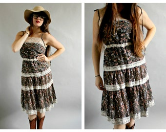 70s Boho Lace Dress- Floral, M, 4, 6, Chic Cowgirl, Vintage Hippie Dress, Stevie Nicks Clothing Style, Curvy, Festival Coachella Gypsy