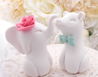 Wedding Cake Topper, Elephant and Bear, Coral and Mint, Mix and Match, Bride and Groom Keepsake, Fully Custom