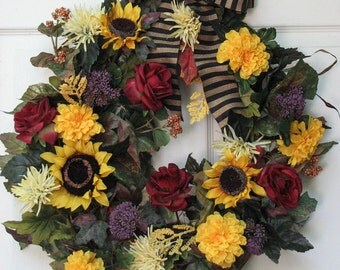 Fall Wreath, Sunflowers & Roses, Door Wreath, Front Door Wreath, Outdoor Door Wreath, Summer Wreath, Sunflower Wreath