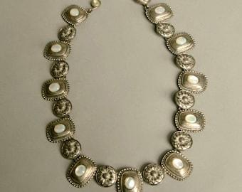 Stunning Ornated Silver Metal White Beads Necklace Authentic Vintage Jewelry artedellamoda parladimoda talkingfashionnet
