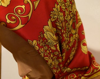 Large Scarf Red Gold Yellow Classic Stunning Vintage Accessory Made in Italy