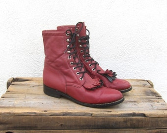 Red Leather Lace Boots Ladies Lacer Rodeo Kilted Grunge Hippy Boho  Boots Ladies 8-8.5