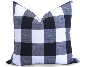 Buffalo Check Pillow Cover - Black and White - Plaid Pillow - Gingham Pillow - Check Pillow - Decorative Pillow - Throw Pillow - Cushion
