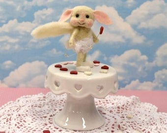 """Needle Felted Valentine  """"Cupid"""" Bunny With Bow And Arrow.............Free Shipping In The U.S."""