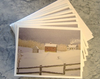 Winter Snowstorm note cards, snow, rail fence, barn, farm