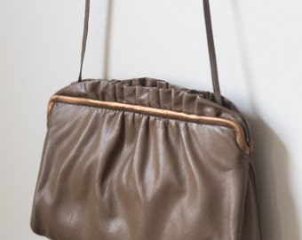Authentic Morris Moskowitz Taupe Purse with Ruffles