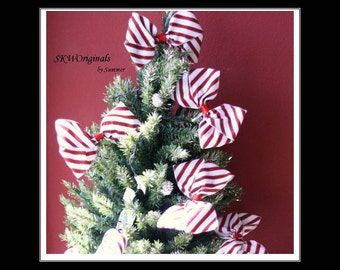 Red and White Striped Handmade Candy Cane Tree Bows - Set of 6 - Christmas