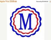 SALE INSTANT DOWNLOAD Patriotic Usa Scallop Monogram Embroidery Font Design Set