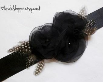 Black Bridal Sash, Black Wedding Sash, Bridal Accessories, Belts and Sashes, Black Sash, Flower Sash Belt, Wedding Accessories, Christy