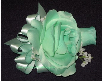 New Artificial Mint Green Rose Corsage, Mint Rose Mother's Corsage, Mint Corsage