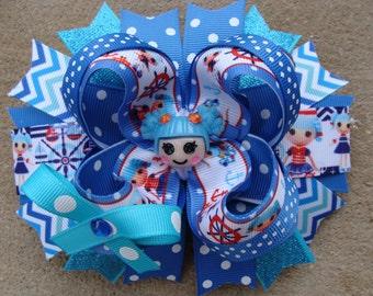Lalaloopsy Hair Bow boutique hair bow large hair bow stacked hair bow blue Lalaloopsy hair bow anchor hair bow