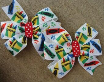 School Hair Bow Go back to School Hair Bow crayon hair bow school hair clip medium hair bow hairbow pigtails hair bow set