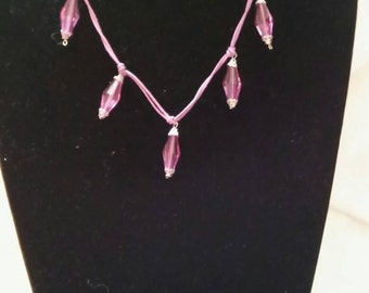 Purple Charm Necklace And Earring Set