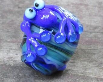 Cobalt Blue Lizard Gecko Chameleon Lampwork Glass Bead Handmade SRA Artisan NLC Beads leteam
