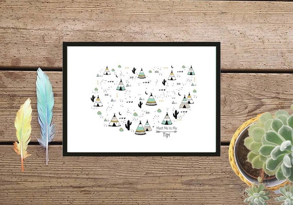 Kids wall art tepee poster minimalist kids room children poster