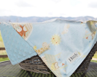 Super Soft Baby Blanket, Light Blue Dot Minky Fleece Baby Blanket, Paired with Soft Noah's Ark Minky, Boy Baby Blanket