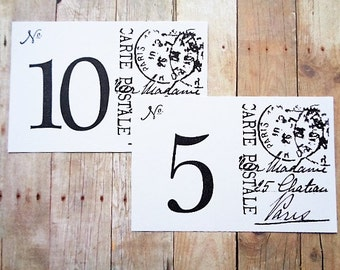 Paris Wedding Post Card Table Number Cards French Wedding Table Decor Classic Black and White