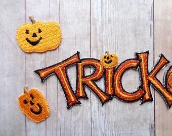 Halloween Embellishments Scrapbook Title Trick or Treat Pumpkins Embroidered Sticker Self Adhesive Embellishment