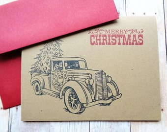 Christmas Cards Rustic Country Truck Vintage Old Fashioned
