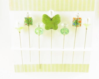 Decorated Sewing Pins Grass Green Butterfly with Millefiori and Crystals
