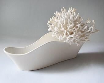 Vintage Vase Poole Pottery Wave Shape White