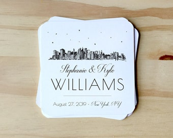 Save the Date Coasters with NYC Skyline, customizable for Weddings, Rehearsal Dinners, Events, Housewarming Gift; paper coasters SET OF 25