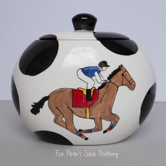 KENTUCKY DERBY gift, Horse and jockey canister, polka dot, hand painted, ceramic, Oval Canister, cookie jar, Equestrian cookie jar