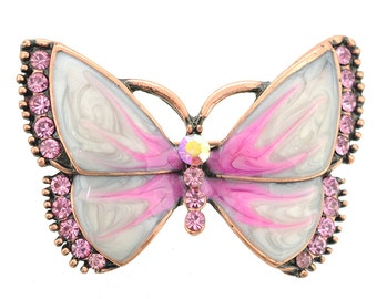 Copper Pink Marble Butterfly Brooch Pin 1005642