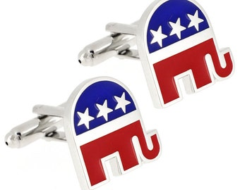 Republican Elephant Cufflinks With Gift Box 1200363